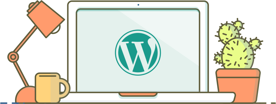 [Image of a laptop on a desk, featuring the WordPress logo.]